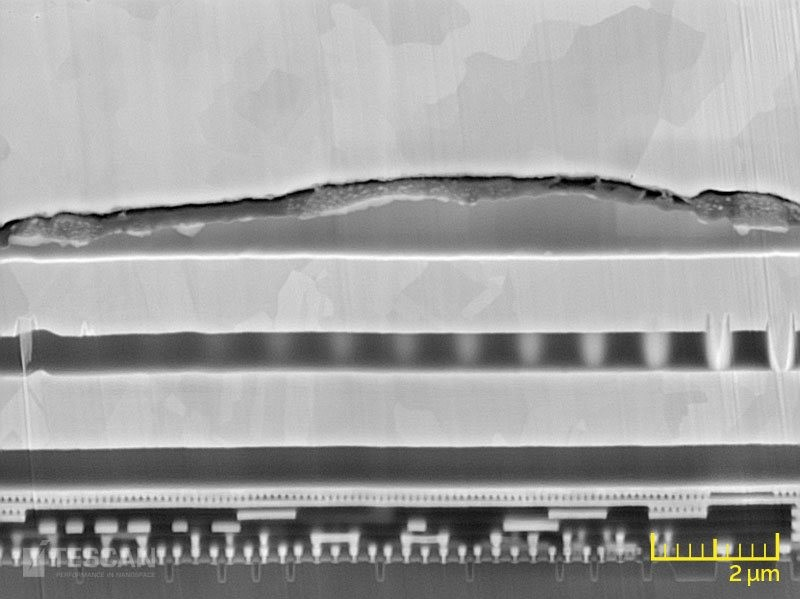 Magnified image of Cu bond showing a crack at the interface causing failure