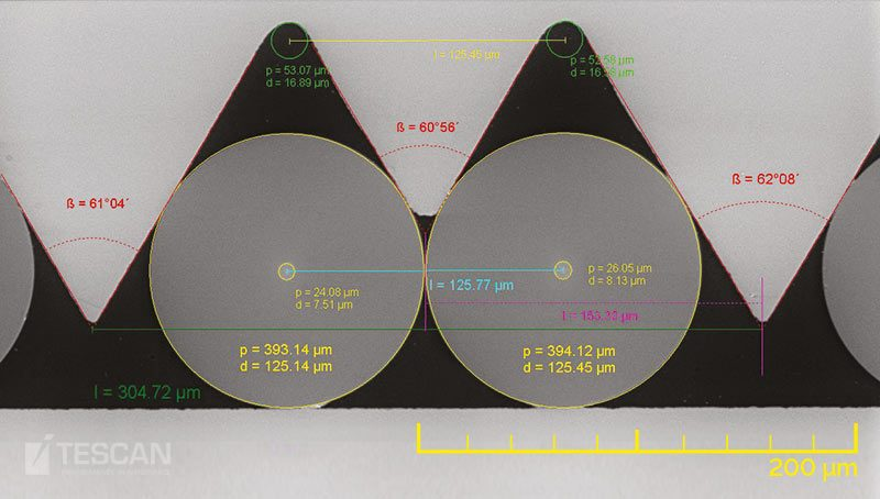 Glass Optical fiber in matrix with measurement
