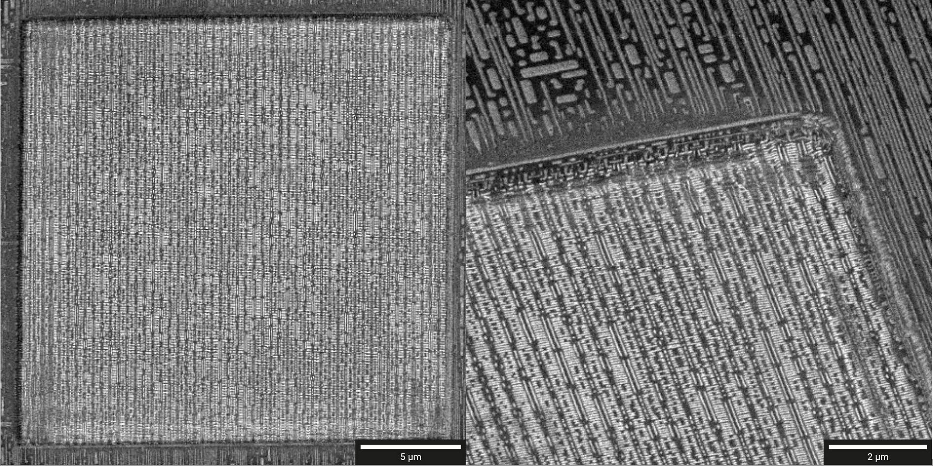 (Left) Overview of delayered area (20 × 20 μm²) down to via contact layer. (Right) Detail showing smooth polished walls.
