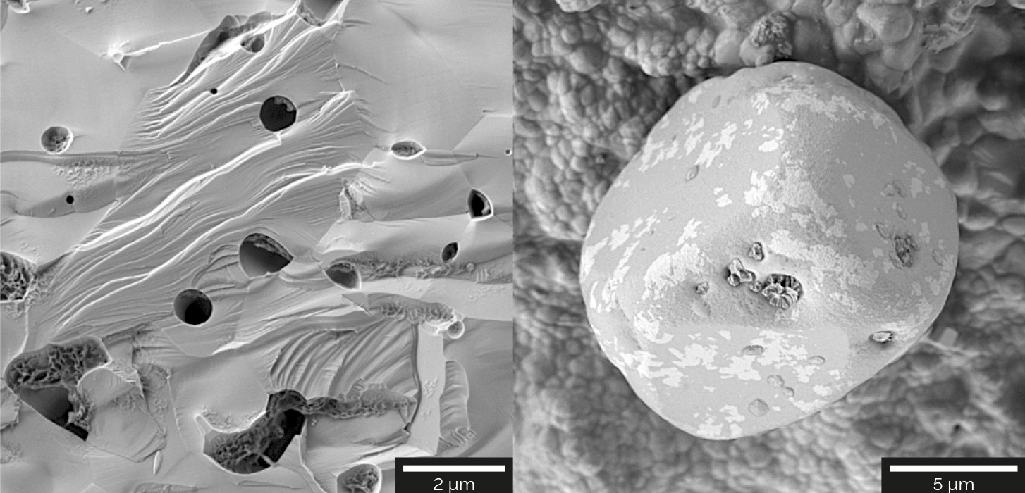 Ceramic samples imaged with the E-T detector for topographic and material contrast. The ceramic sample on the left was imaged at 2 keV. The ceramic sample on the right was imaged at 500 eV for enhanced surface sensitivity.