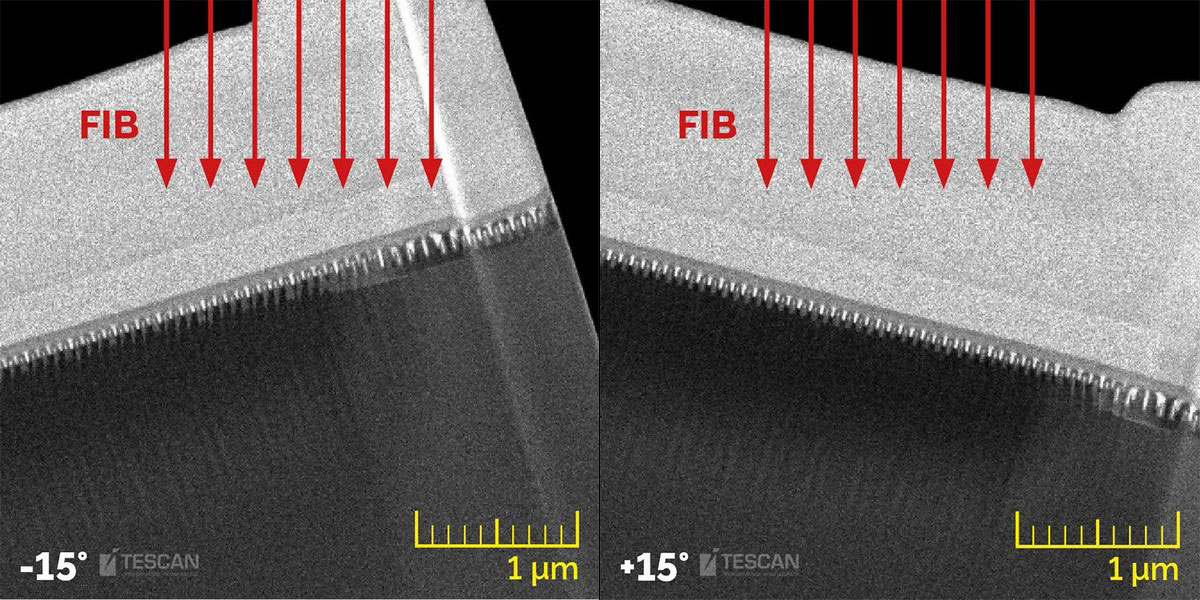 14 nm technology node Intel processor. Rocking Stage helps to mitigate curtaining on the TEM lamella by consecutive tilts of the sample to +/- 15° during lamella thinning
