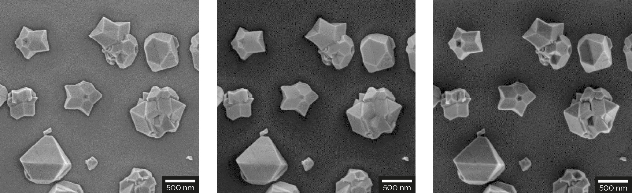Fault planes and complex geometries of individual particles in nanocrystalline diamonds on Si substrate acquired at 2 keV with the four detectors Multidetector (left), Axial detector (center), E-T detector (right).