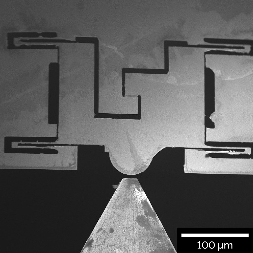In-situ tensile test experiment of a single-layer graphene flake