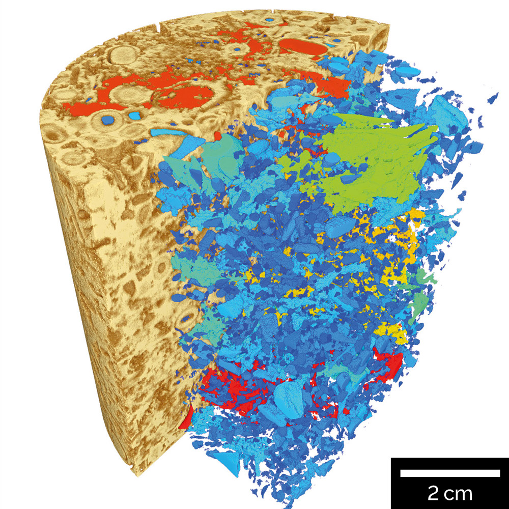 Volume of interest scan inside carbonate core.