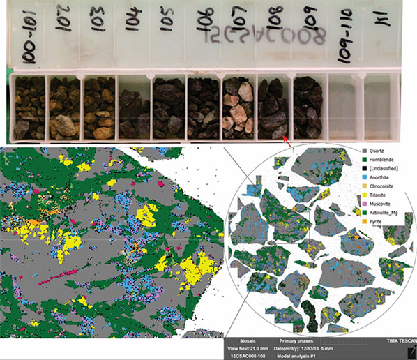 Results from TIMA scan showing identified mineral species and textural relationships (Diagram courtesy of CSIRO)