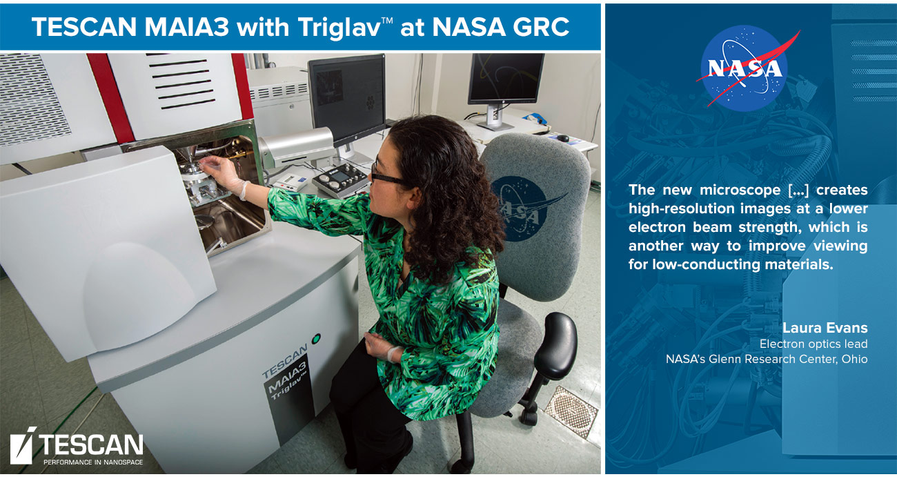 Laura Evans, electron optics lead at NASA's Glenn Research Center's analytical science group, loads a sample into Glenn's new TESCAN MAIA3 microscope.