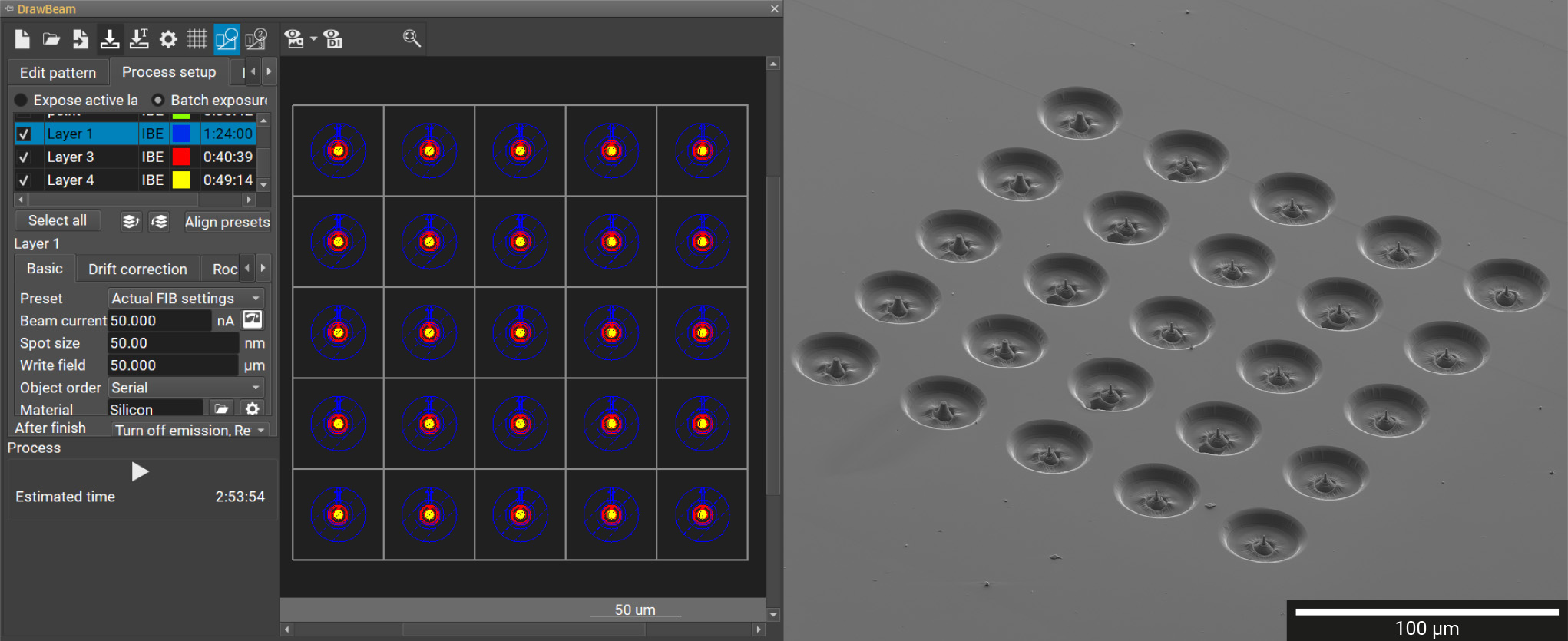 (Left) DrawBeam Advanced interface showing batch-processing of a pillar array. (Right) 5 × 5 array of micro-compression pillars prepared in less than 3 hours