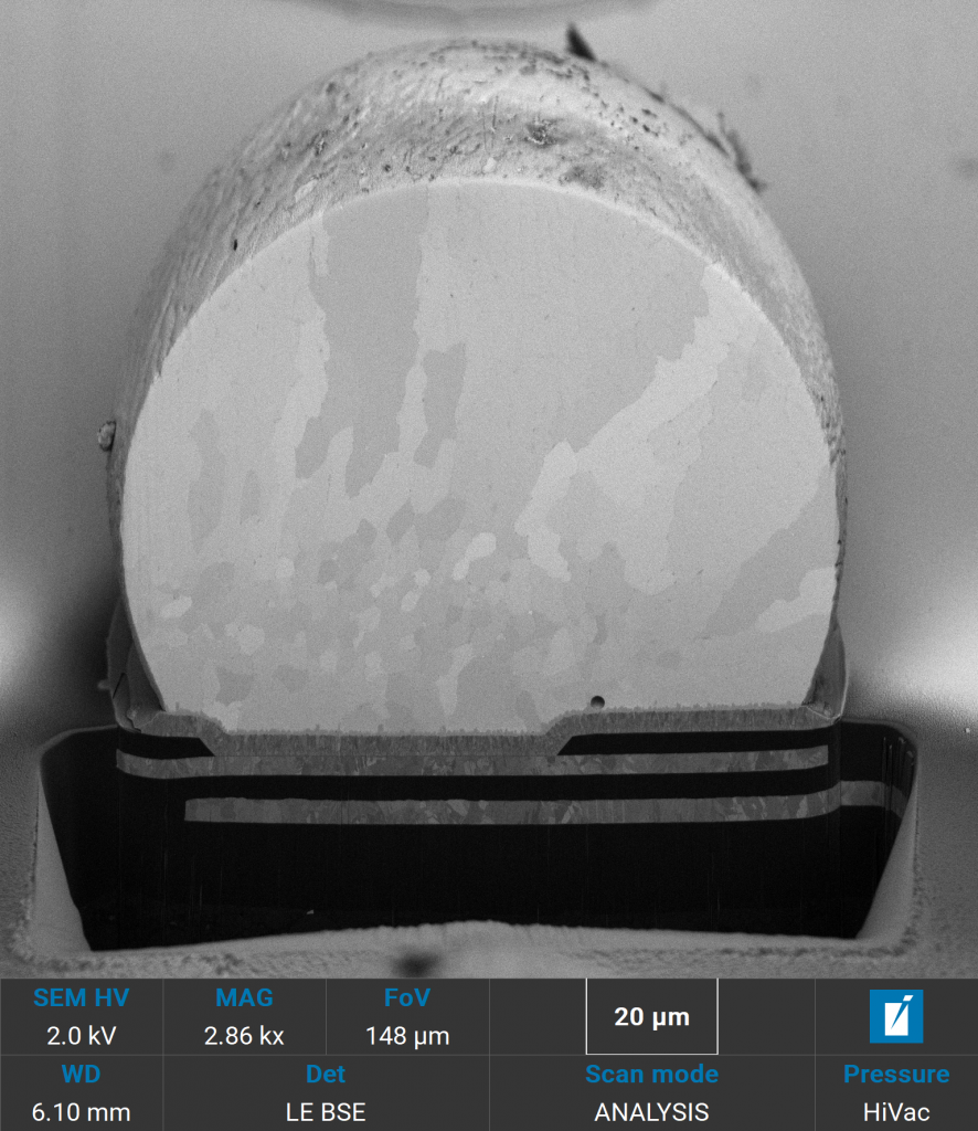 SEM image of solder ball cross-section taken at 2 keV using BSE detector showing excellent material contrast.