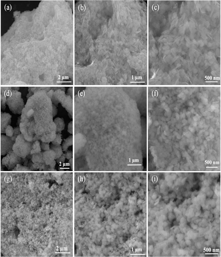 FE-SEM images of BiOCl-T (a-c), BiOCl-4 (d-f) and BiOCl-24 photo-catalyst (g-i) at different magnifications.