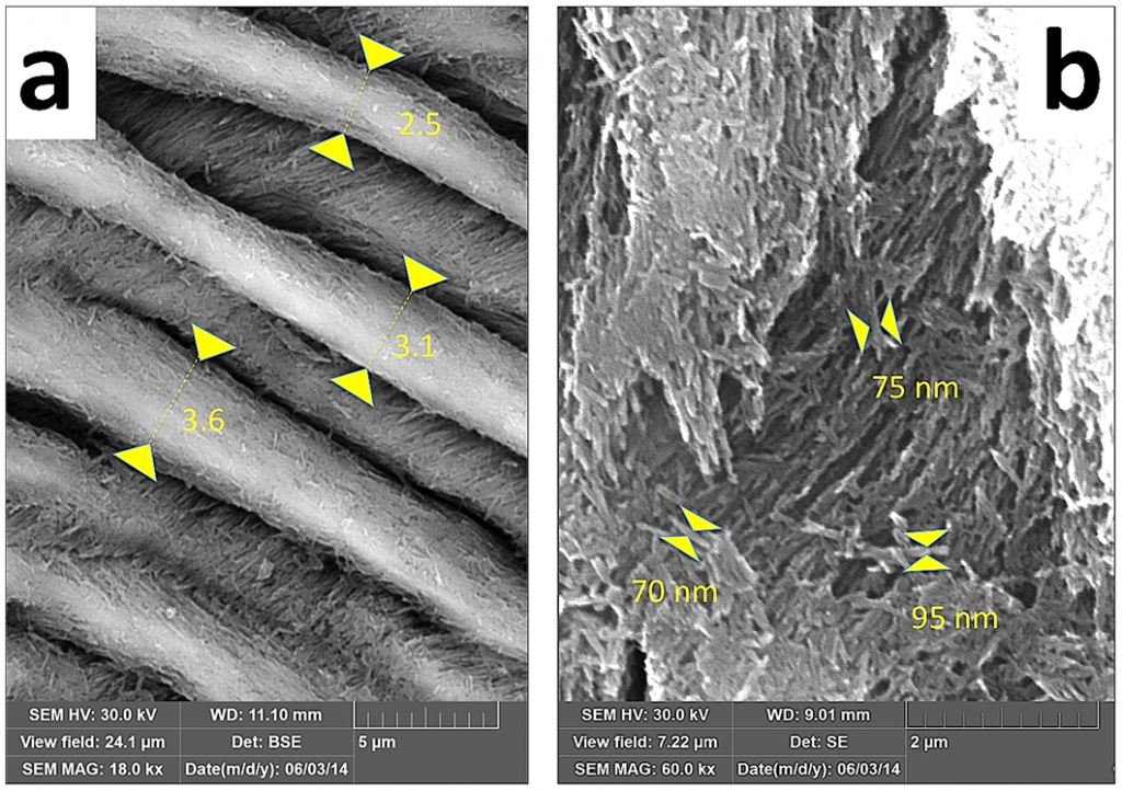 Techniques of measuring prism width (a) and thickness of crystallite aggregates (b).
