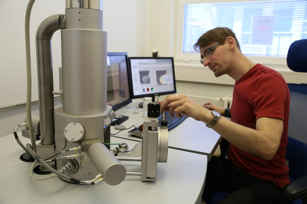 Preparing a powder sample for inspection and analysis in the scanning electron microscope TESCAN VEGA3